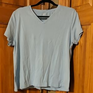 Women's Cherokee XL Blue V-neck Tshirt 100% Cotton
